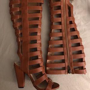Brown Zip Up Heels
